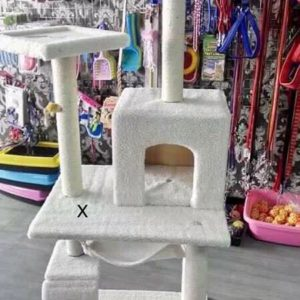 wooden cat tower scratch post
