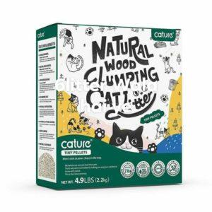 Natural wood clumping cat litter
