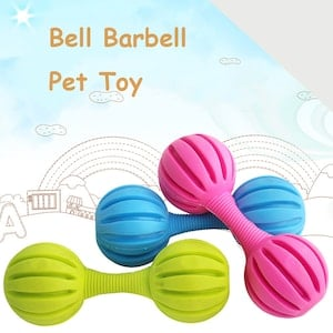 DOG BELL BARBELL RUBBER TOY